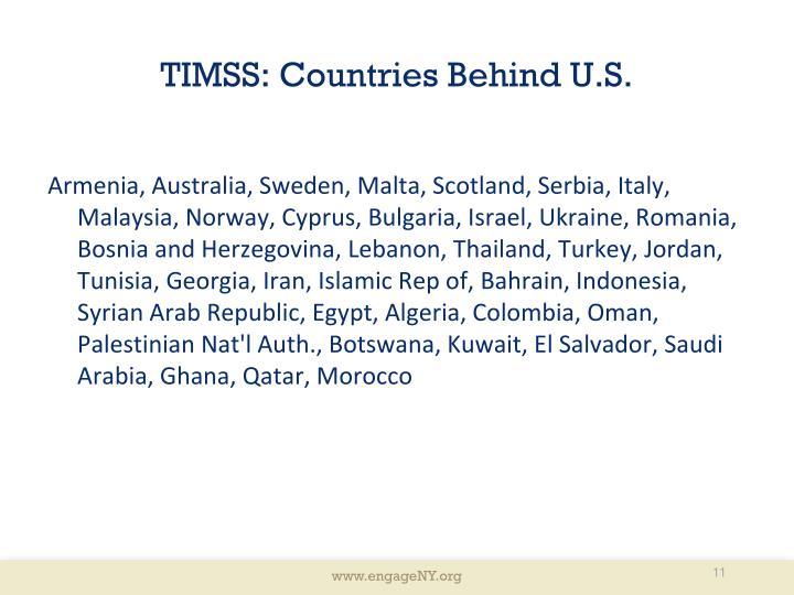 TIMSS: Countries Behind U.S.