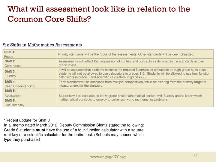 What will assessment look like in relation to the Common Core Shifts?