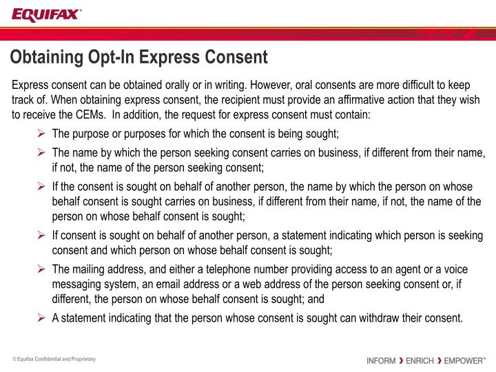 Obtaining Opt-In Express Consent