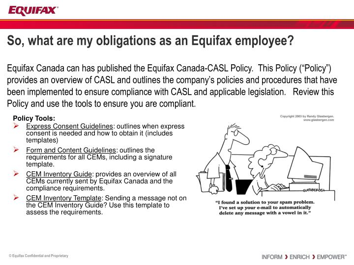 So, what are my obligations as an Equifax employee?
