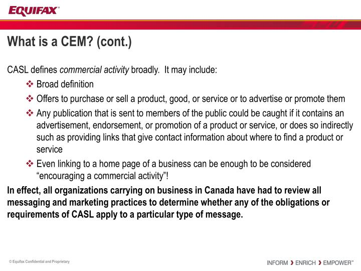 What is a CEM? (cont.)