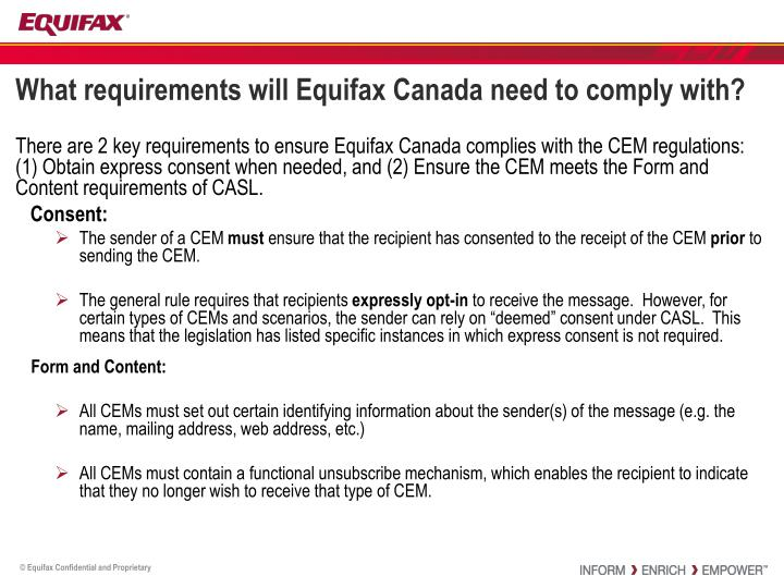 What requirements will Equifax Canada need to comply with?