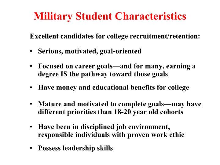 Military Student Characteristics