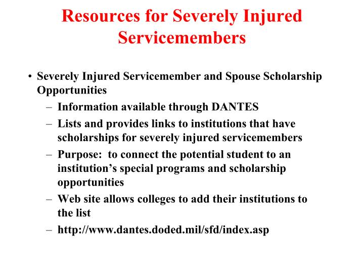 Resources for Severely Injured Servicemembers