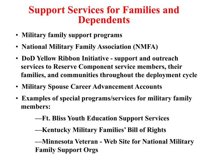 Support Services for Families and Dependents