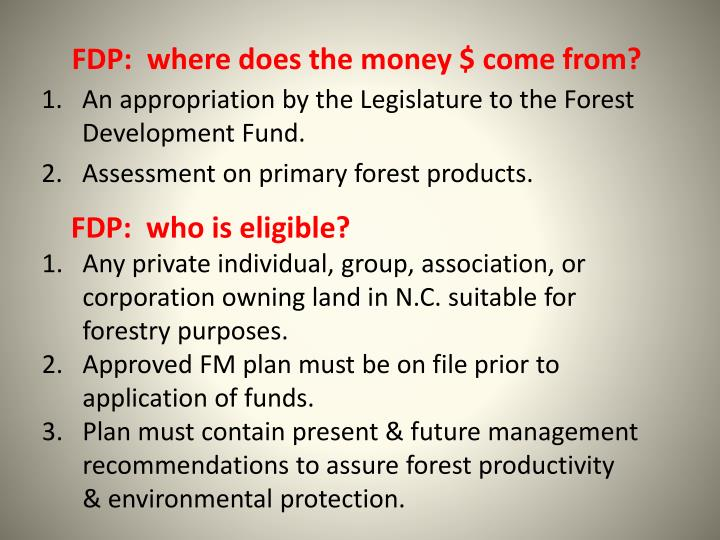 FDP:  where does the money $ come from?