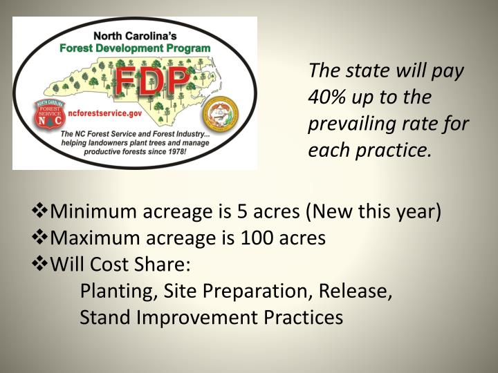 The state will pay 40% up to the prevailing rate for each practice.