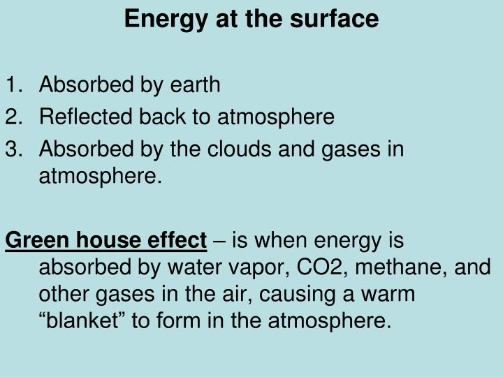 Energy at the surface