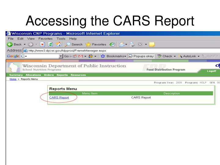 Accessing the CARS Report