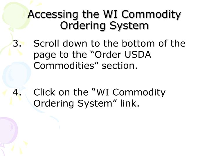 Accessing the WI Commodity Ordering System