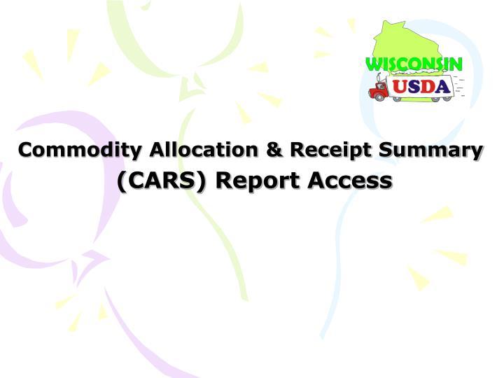 Commodity Allocation & Receipt Summary