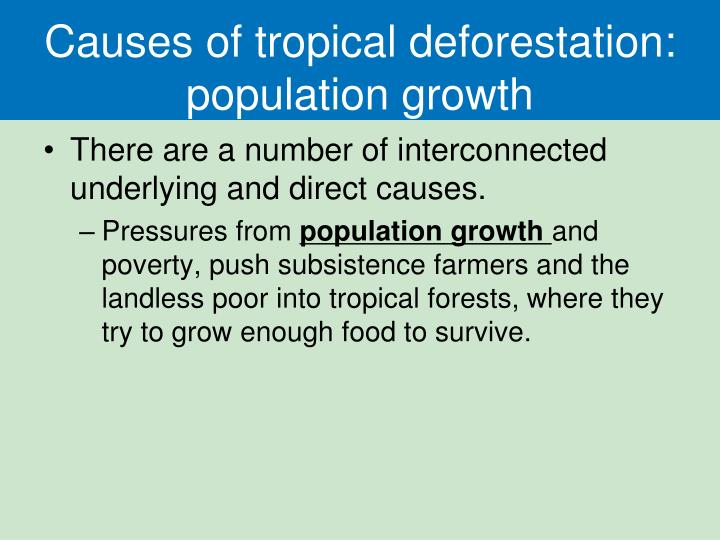 Causes of tropical deforestation: population growth
