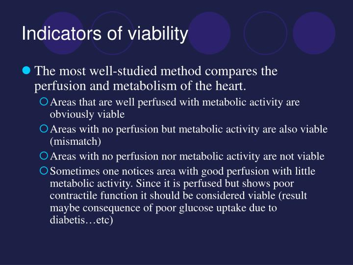 Indicators of viability