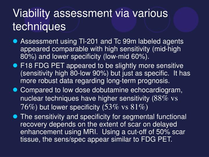 Viability assessment via various techniques
