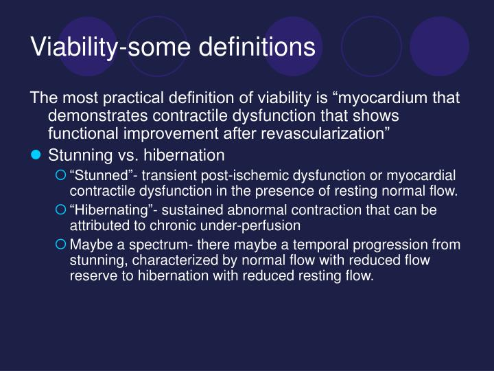 Viability some definitions