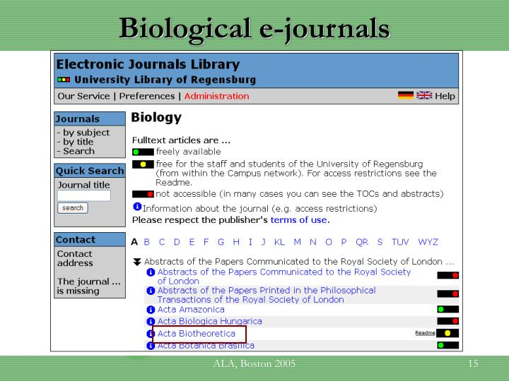 Biological e-journals