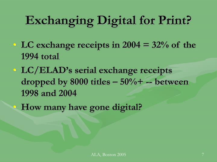 Exchanging Digital for Print?