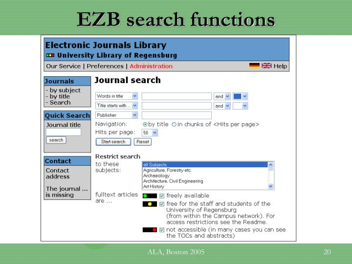 EZB search functions