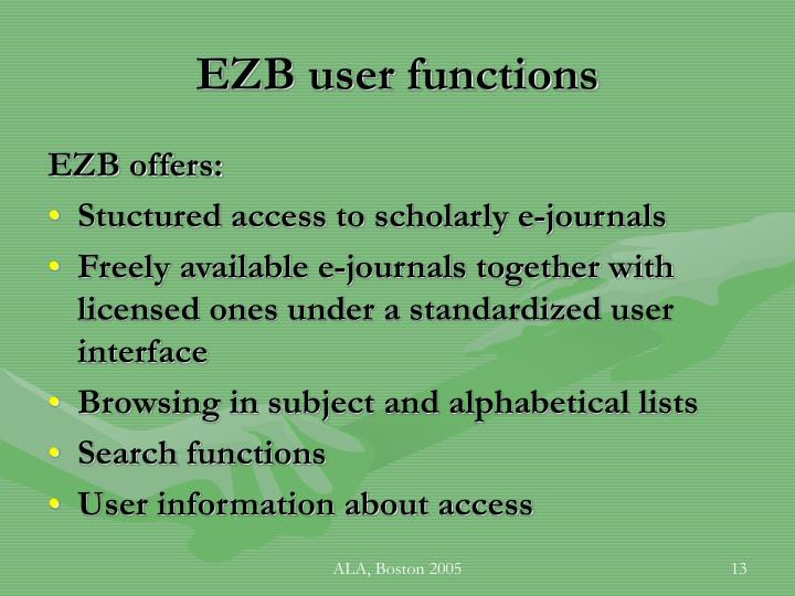 EZB user functions