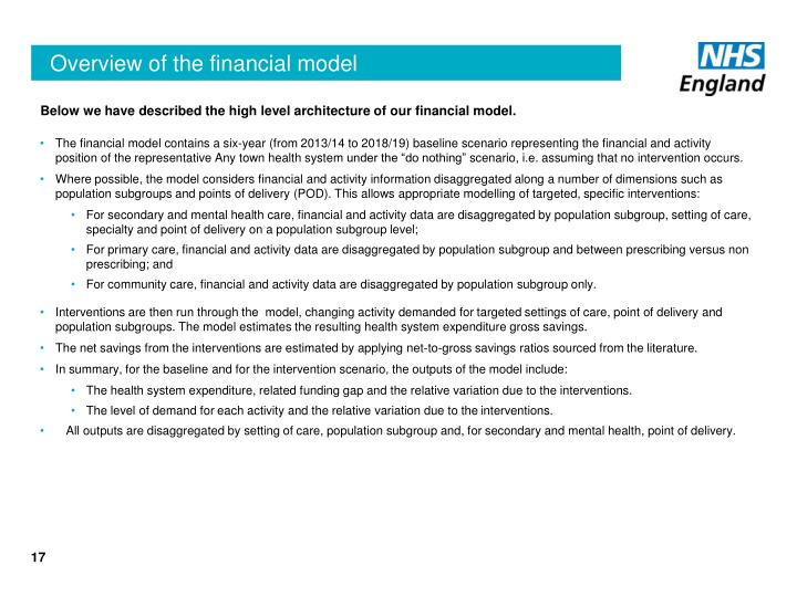Below we have described the high level architecture of our financial model.