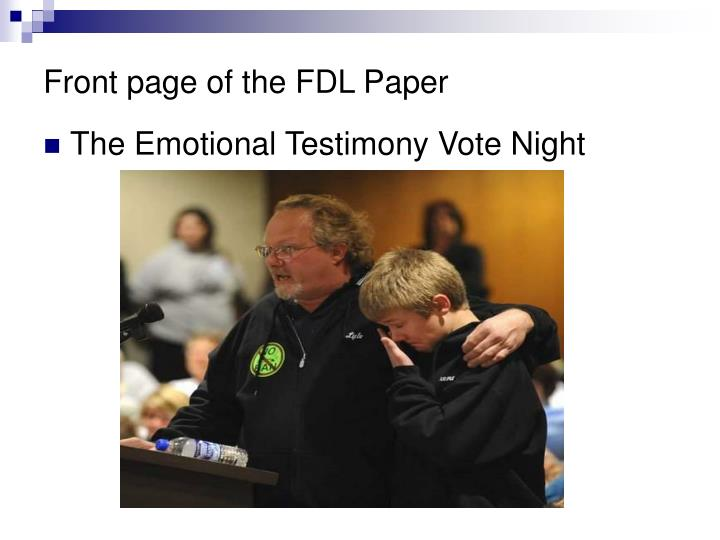 Front page of the FDL Paper