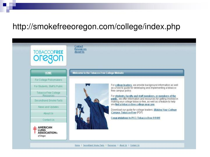 http://smokefreeoregon.com/college/index.php