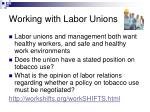 working with labor unions
