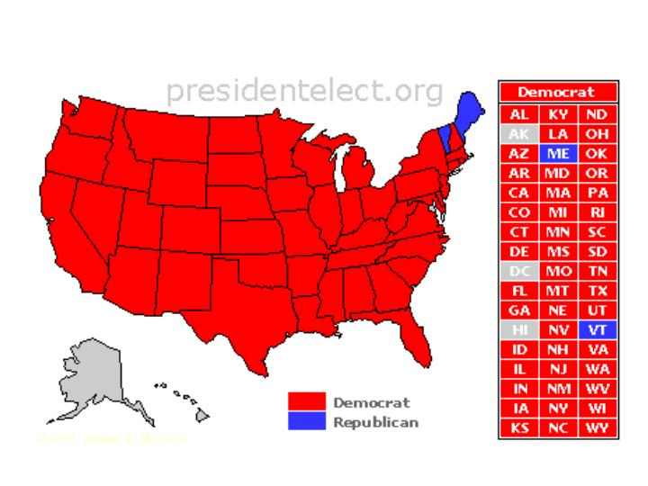 ROOSEVELT (RED) VS. LANDON (BLUE) 1936 ELECTION