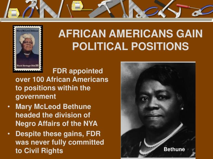AFRICAN AMERICANS GAIN POLITICAL POSITIONS