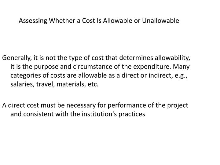 Assessing Whether a Cost Is Allowable or Unallowable