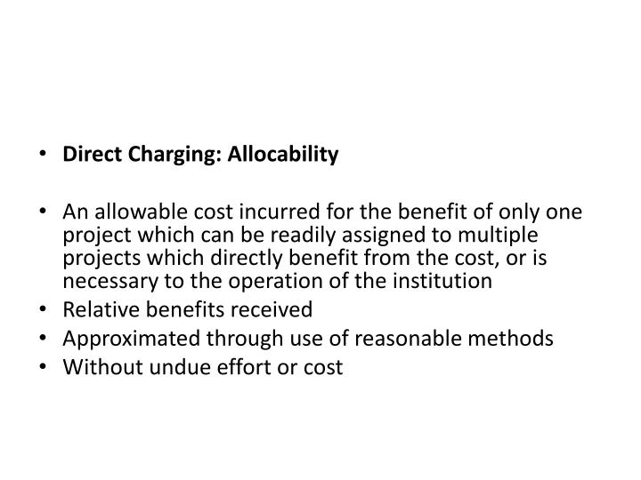 Direct Charging: Allocability
