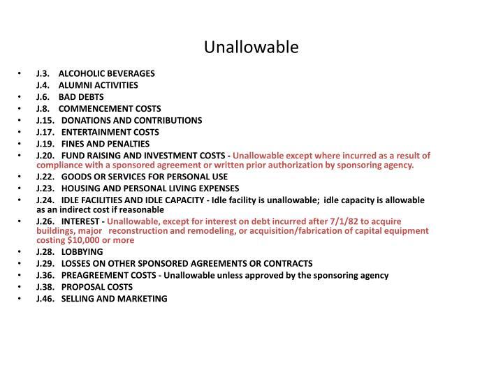 Unallowable
