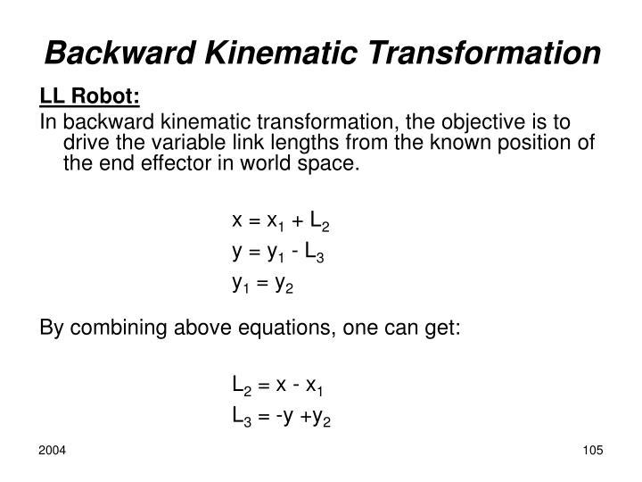 Backward Kinematic Transformation