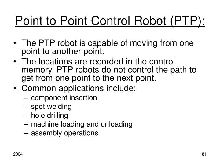 Point to Point Control Robot (PTP):