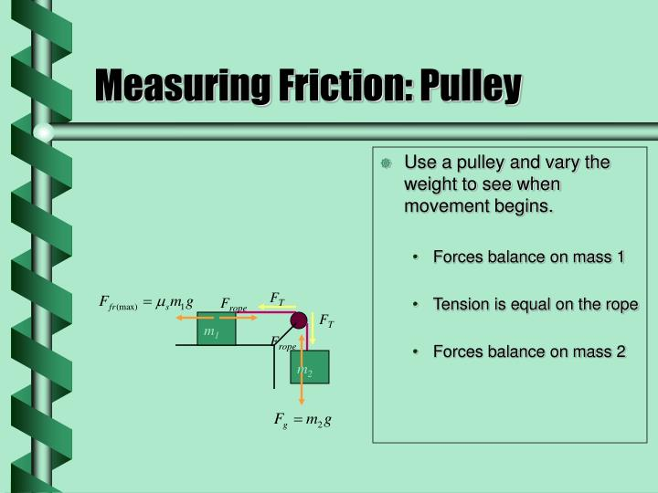 Use a pulley and vary the weight to see when movement begins.
