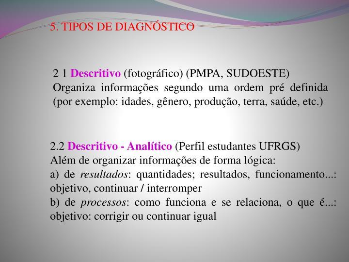 5. TIPOS DE DIAGNÓSTICO