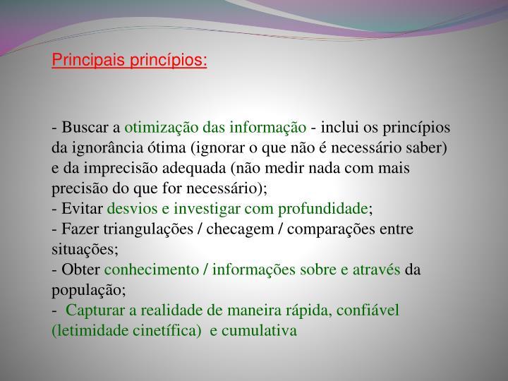 Principais princípios: