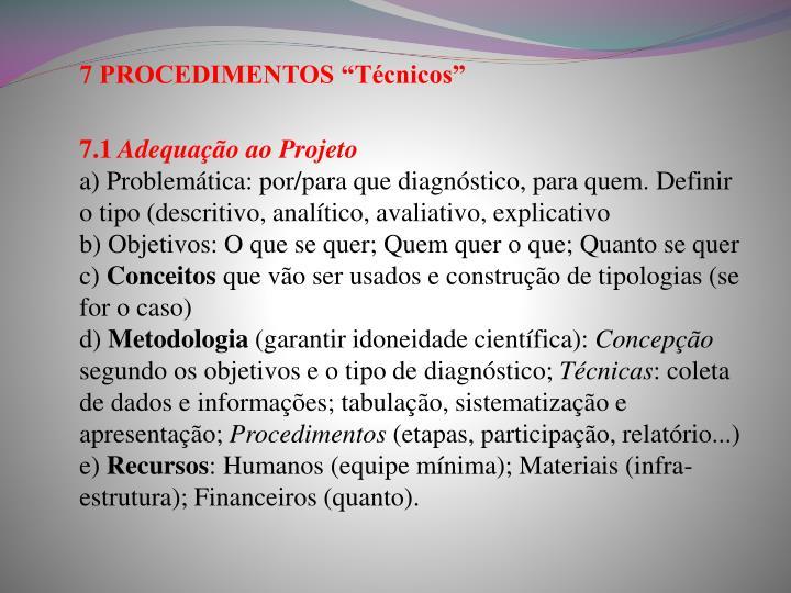 "7 PROCEDIMENTOS ""Técnicos"""