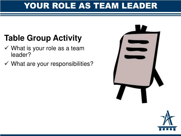 YOUR ROLE AS TEAM LEADER