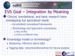 evs goal integration by meaning