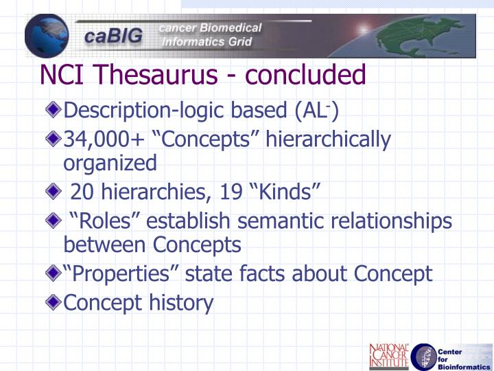 NCI Thesaurus - concluded