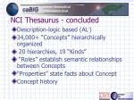 nci thesaurus concluded