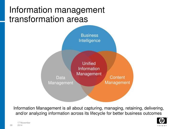 Information management transformation areas