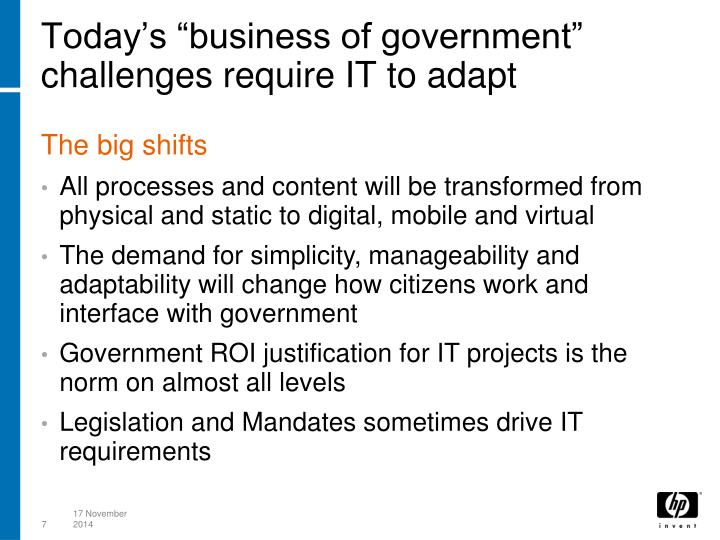 """Today's """"business of government"""" challenges require IT to adapt"""
