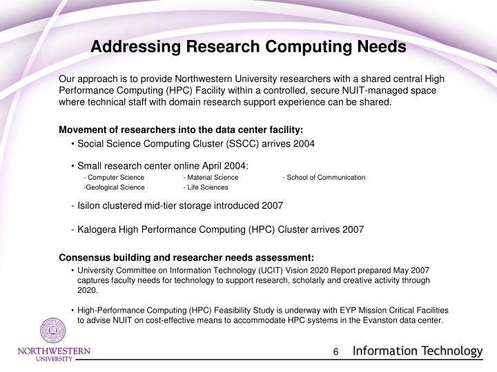 Addressing Research Computing Needs