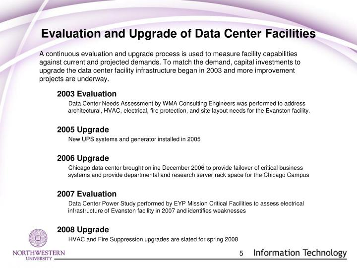 Evaluation and Upgrade of Data Center Facilities