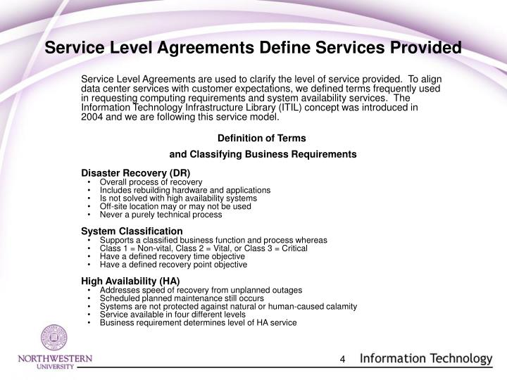 Service Level Agreements Define Services Provided