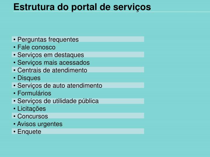 Estrutura do portal de serviços