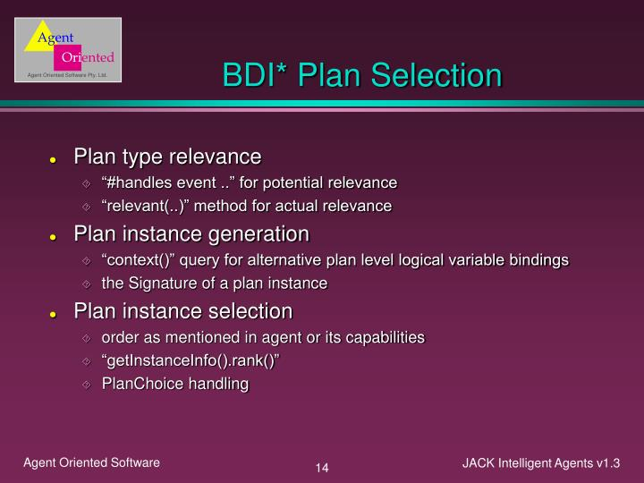 BDI* Plan Selection