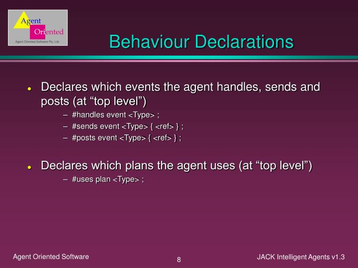 Behaviour Declarations